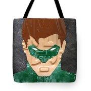 Green Lantern Superhero Portrait Recycled License Plate Art Tote Bag