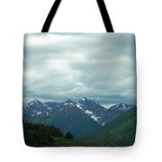 Green Pastures And Mountain Views Tote Bag