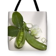 Green Peas In Pod With White Flower Tote Bag