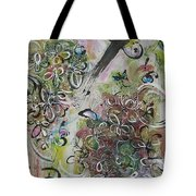 Green Pink Brown Abstract Art Spring Color Blossom Flower Butterfly Painting Abstract Acrylic Ink Ar Tote Bag