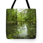 Green Blossoms On Pond Tote Bag
