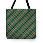 Green Red And Black Diagonal Plaid Textile Background Tote Bag