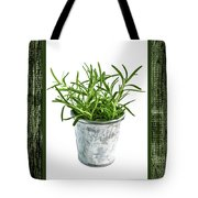 Green Rosemary Herb In Small Pot Tote Bag