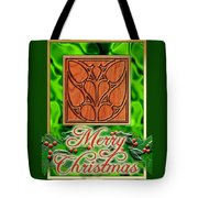 Green Satin Merry Christmas Tote Bag