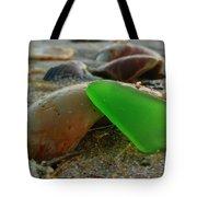Green Sea Glass And Shells Hatteras Island 9 10/17 Tote Bag