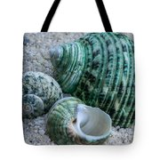 Green Seashells Tote Bag