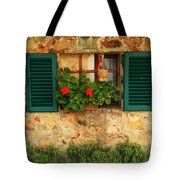 Green Shutters And Window In Chianti Tote Bag