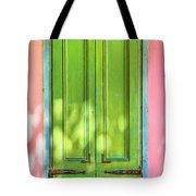 Green Shutters Pink Stucco Wall 2 Tote Bag
