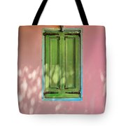 Green Shutters Pink Stucco Wall Tote Bag