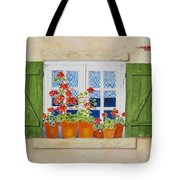 Green Shutters With Red Flowers Tote Bag