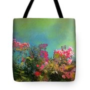 Green Sky With Pink Bougainvillea - Square Tote Bag