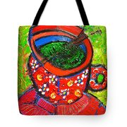 Green Tea In Red Cup Tote Bag