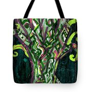 Green Tree With Pink Watercolor Tote Bag