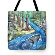 Green Trees With Rocks And River Tote Bag