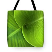 Green Twin Leaves Tote Bag