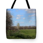 Green Wheat Field With Blue Sky Tote Bag