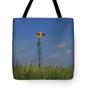 Green Wheat  Field With Green And Yellow Windmill Tote Bag by Robert D  Brozek