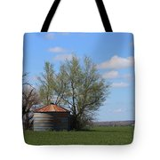 Green Wheatfield With An Old Grain Bin Tote Bag