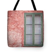 Green Window On Red Wall. Tote Bag