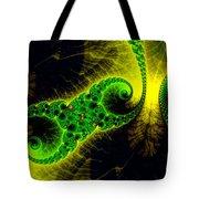 Green Yellow Black Abstract Fractal Art Vivid Colors Tote Bag