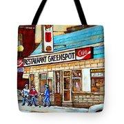 Greenspot Restaurant Notre Dame Street  South West Montreal Paintings Winter Hockey Scenes St. Henri Tote Bag