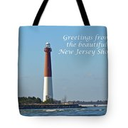 Greetings From The Beautiful New Jersey Shore - Barnegat Lighthouse Tote Bag