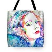 Greta Garbo - Colored Pens Portrait Tote Bag