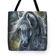 Grey Arabian Horse Oil Painting 2 Tote Bag