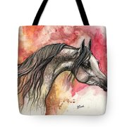 Grey Arabian Horse On Red Background 2013 11 17  Tote Bag