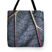 Grey Leaf With Purple Veins Tote Bag