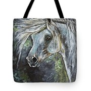 Grey Pony With Long Mane Oil Painting Tote Bag
