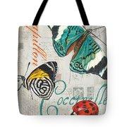 Grey Postcard Butterflies 2 Tote Bag