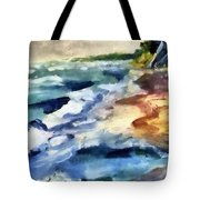 Grey Sky Day On The Lake Tote Bag