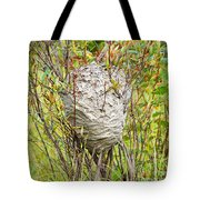 Grey Wasps Nest In Willow Bush Tote Bag
