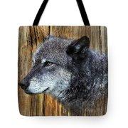 Grey Wolf On Wood Tote Bag