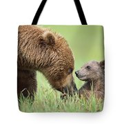 Grizzly Bear And Cub In Katmai Tote Bag