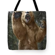 Grizzly Bear Attack On The Trail Tote Bag