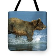 Grizzly Bear Chasing Fish Tote Bag