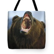 Grizzly Bear Close Up Of Growling Face Tote Bag