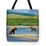 Grizzly Bear Communication In The Moraine River In Katmai  Np-ak Tote Bag