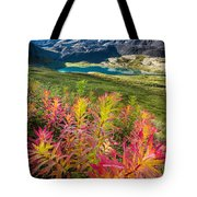 Grizzly Bear Fireweed Tote Bag by Tim Newton