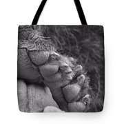 Grizzly Bear Paw Black And White Tote Bag