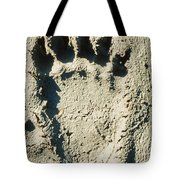 Grizzly Bear Track In Soft Mud. Tote Bag