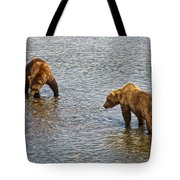 Grizzly Bears Looking For Salmon In Moraine River In Katmai Np-ak Tote Bag