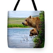 Grizzly Bears Peering Out Over Moraine River From Their Safe Island Tote Bag