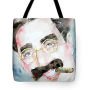 Groucho Marx Watercolor Portrait.2 Tote Bag by Fabrizio Cassetta