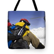 Group Heli Skiing, Helicopter Taking Tote Bag