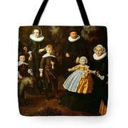 Group Portrait Of Three Generations Of A Family In The Grounds Of A Country House Oil On Canvas Tote Bag