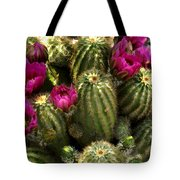 Grouping Of Cactus With Pink Flowers Tote Bag