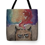 Grumpy Cat And Her Colorful Dreams Tote Bag